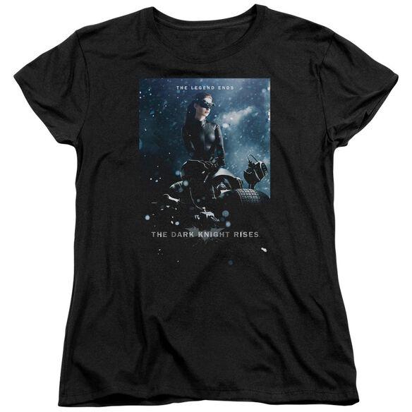 Dark Knight Rises Catwoman Poster Short Sleeve Womens Tee Black T-Shirt