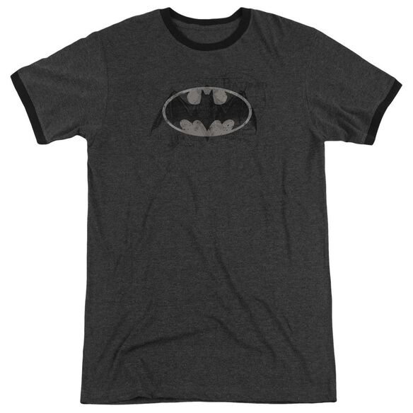 Batman Arcane Bat Logo Adult Heather Ringer Charcoal