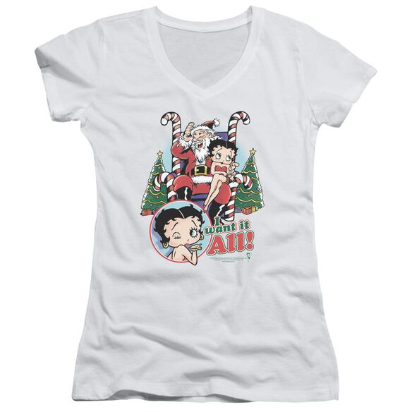 Betty Boop I Want It All Junior V Neck T-Shirt