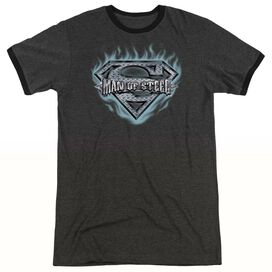 SUPERMAN MAN OF STEEL SHIELD - ADULT HEATHER RINGER - CHARCOAL