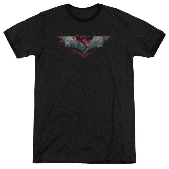 Dark Knight Rises Split & Crack Logo Adult Heather Ringer