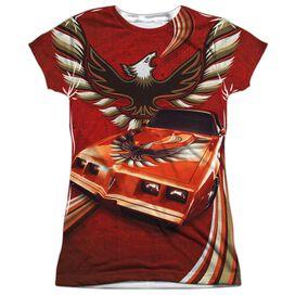 Pontiac Firebird Flames Short Sleeve Junior Poly Crew T-Shirt