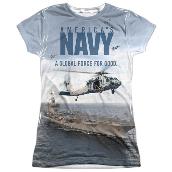 Navy Over And Under Short Sleeve Junior Poly Crew T-Shirt