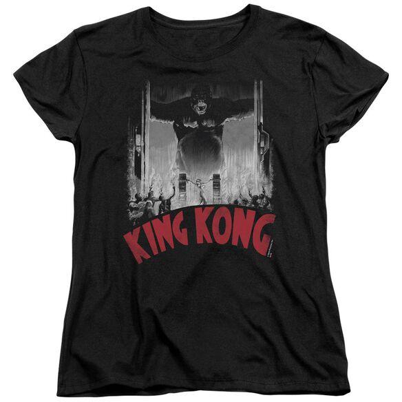 King Kong At The Gates Poster Short Sleeve Womens Tee T-Shirt