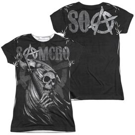 Sons Of Anarchy Somcro Reaper (Front Back Print) Short Sleeve Junior Poly Crew T-Shirt