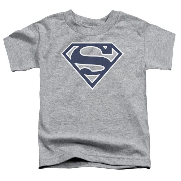 Superman Navy & White Shield Short Sleeve Toddler Tee Athletic Heather T-Shirt