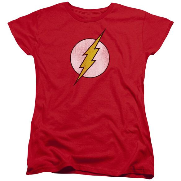 Dc Flash Flash Logo Distressed Short Sleeve Womens Tee Red T-Shirt