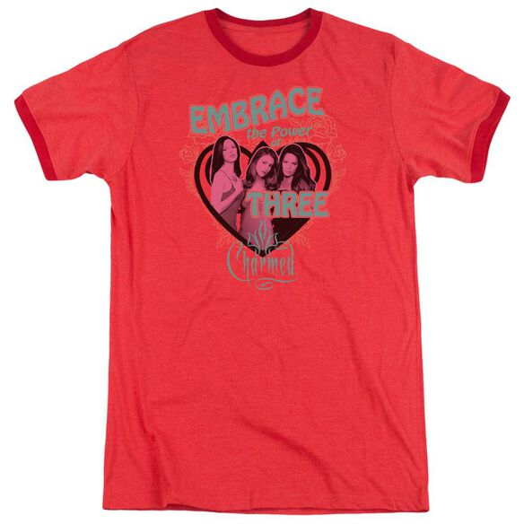 Charmed Embrace The Power Adult Heather Ringer Red