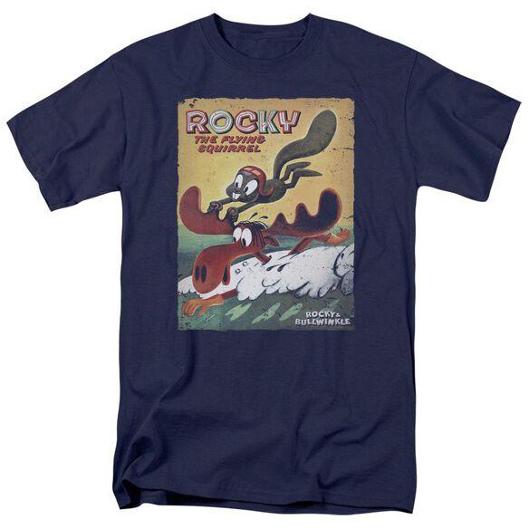 Rocky & Bullwinkle Vintage Poster Short Sleeve Adult T-Shirt