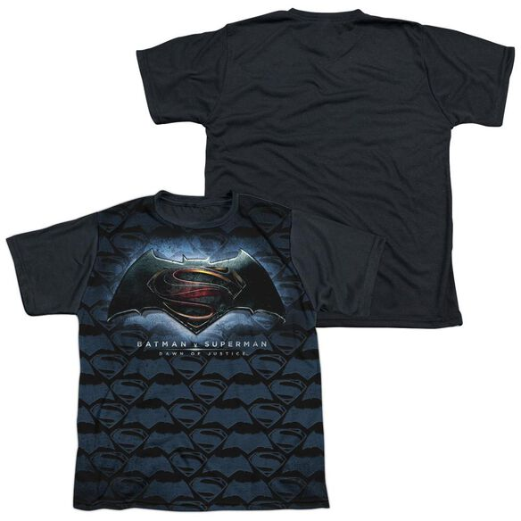 Batman Vs Superman Logo Pattern Short Sleeve Youth Front Black Back T-Shirt