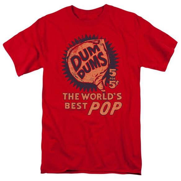 Dum Dums 5 For 5 Short Sleeve Adult Red T-Shirt