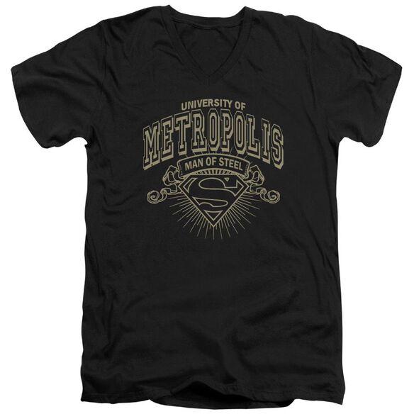 SUPERMAN UNIVERSITY OF METROPOLIS - S/S ADULT V-NECK - BLACK T-Shirt