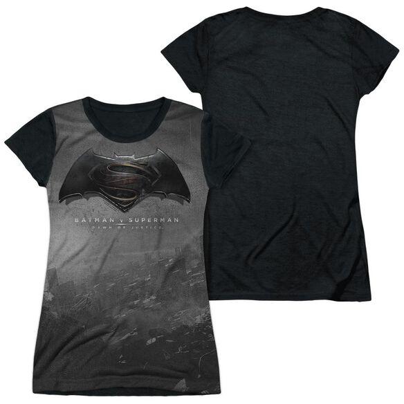 Batman Vs Superman Logo City Short Sleeve Junior Poly Black Back T-Shirt