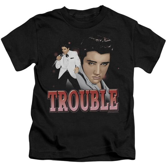Elvis Trouble Short Sleeve Juvenile Black T-Shirt