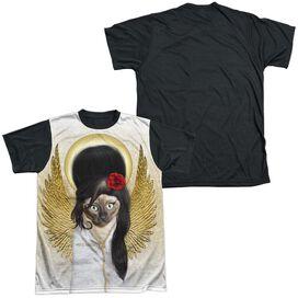 Pets Rock Tattoo Angel (Front Back Print) Short Sleeve Adult Front Black Back T-Shirt