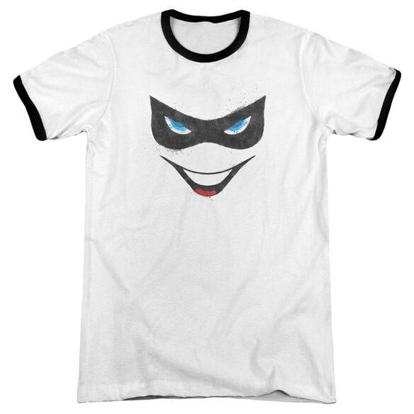 Batman Harley Face Adult Ringer White Black