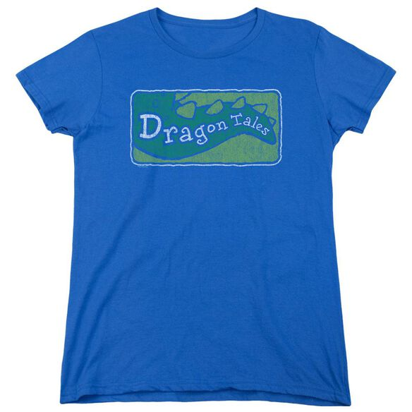 Dragon Tales Logo Distressed Short Sleeve Womens Tee Royal T-Shirt