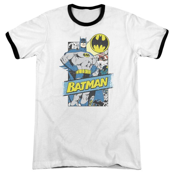 Batman Out Of The Pages Adult Ringer White Black