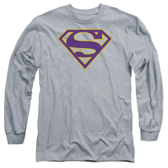 Superman Purple & Gold Shield Long Sleeve Adult Athletic T-Shirt