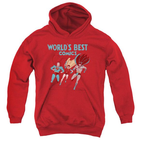 Jla Worlds Best Youth Pull Over Hoodie