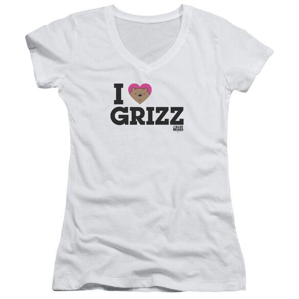 We Bare Bears Heart Grizz Junior V Neck T-Shirt
