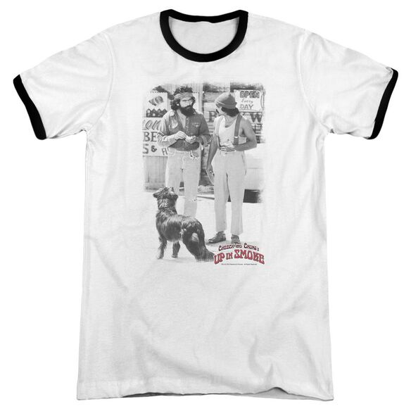 Up In Smoke Square Adult Ringer White Black