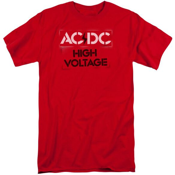 Acdc High Voltage Stencil Short Sleeve Adult Tall T-Shirt