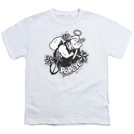 POPEYE STARS AND ANCHOR - S/S YOUTH 18/1 - WHITE T-Shirt