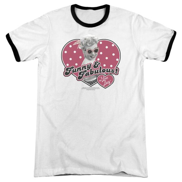 I Love Lucy Funny And Fabulous Adult Ringer White Black