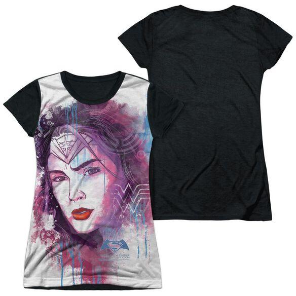 Batman V Superman Watercolor Wonder Sub Short Sleeve Junior Poly Black Back T-Shirt
