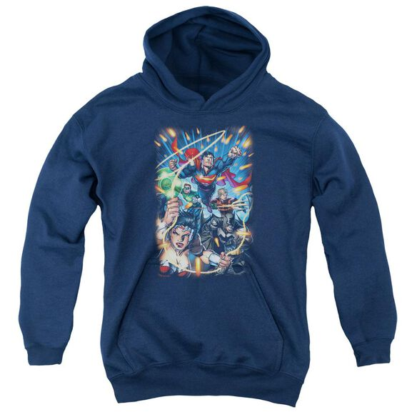 Jla Under Attack Youth Pull Over Hoodie