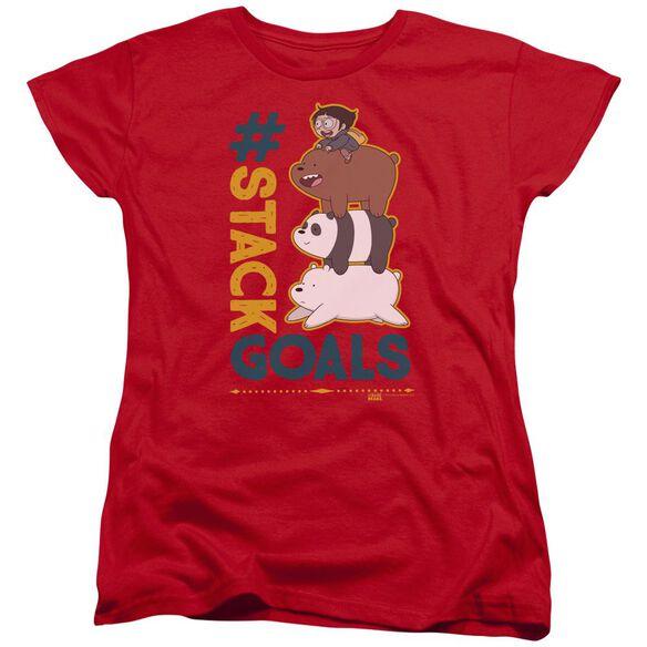 We Bare Bears Stack Goals Short Sleeve Women's Tee T-Shirt