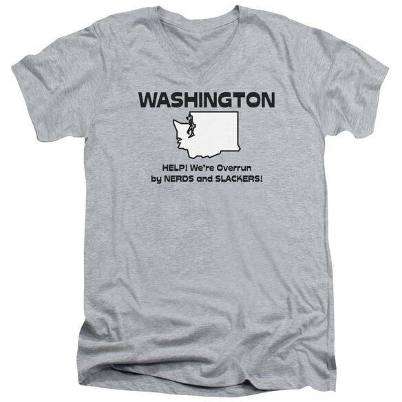 Washington Short Sleeve Adult V Neck Athletic T-Shirt