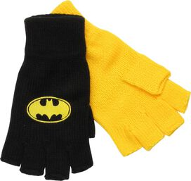 Batman Logo Fingerless Black and Yellow Gloves