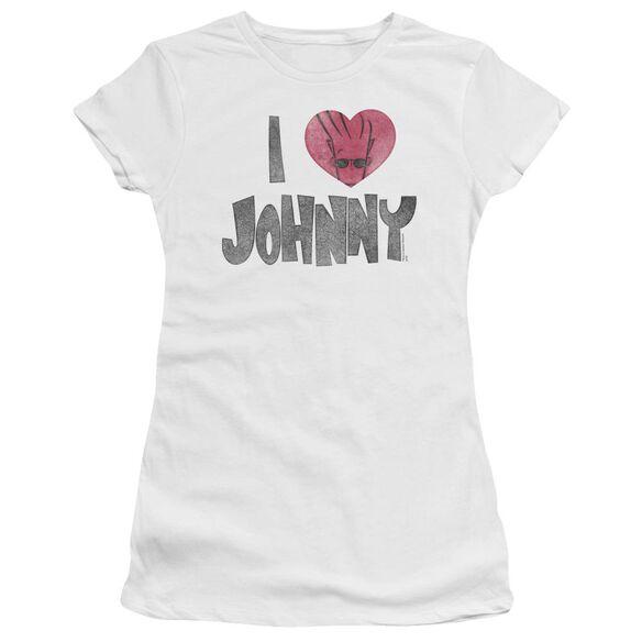 Johnny Bravo I Heart Johnny Short Sleeve Junior Sheer T-Shirt