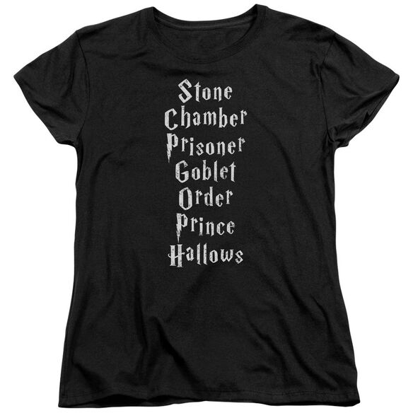 Harry Potter Titles Short Sleeve Womens Tee T-Shirt
