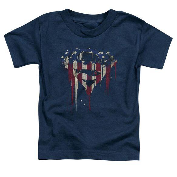 Superman Bleeding Shield Short Sleeve Toddler Tee Navy T-Shirt