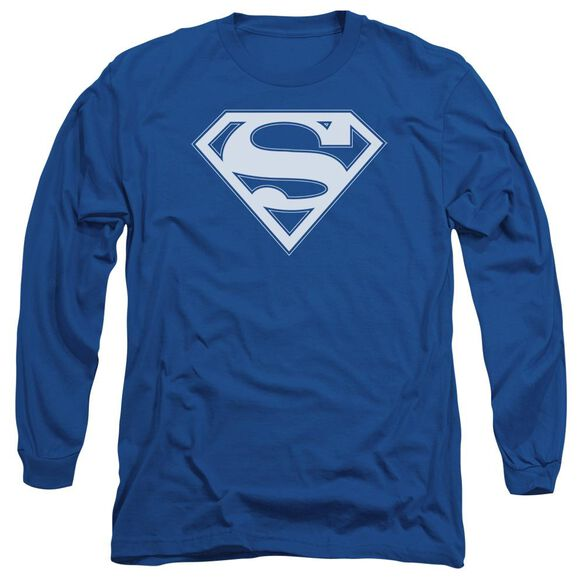 Superman & White Shield Long Sleeve Adult Royal T-Shirt