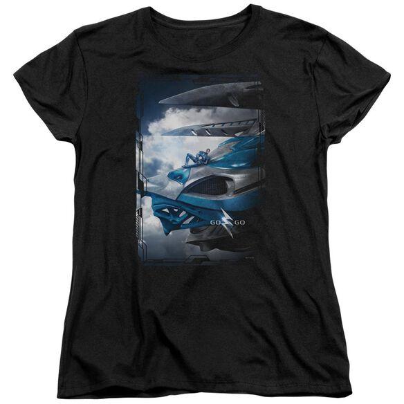 Power Rangers Blue Zord Poster Short Sleeve Womens Tee T-Shirt