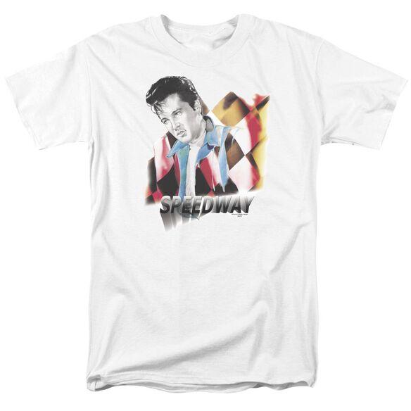 Elvis Speedway Short Sleeve Adult White T-Shirt