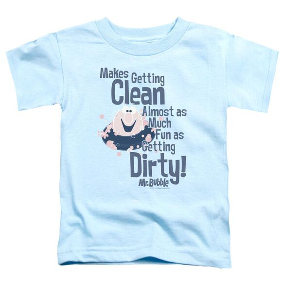 Mr Bubble Clean And Dirty Short Sleeve Toddler Tee Light Blue T-Shirt