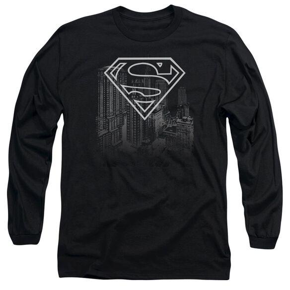 SUPERMAN SKYLINE - L/S ADULT 18/1 - BLACK T-Shirt