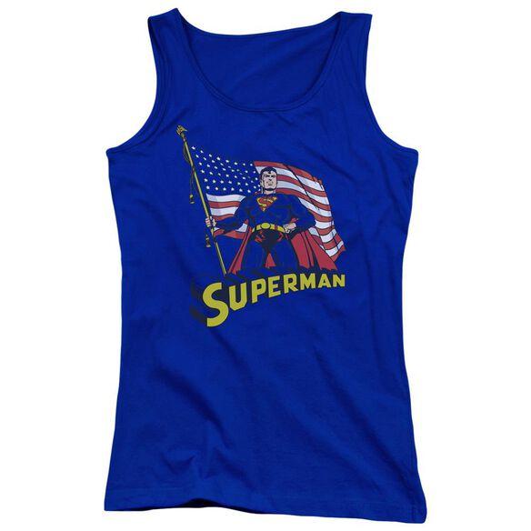 Superman American Flag Juniors Tank Top Royal