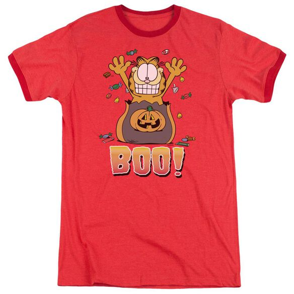 Garfield Boo! Adult Heather Ringer Red