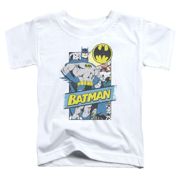 Batman Out Of The Pages Short Sleeve Toddler Tee White T-Shirt