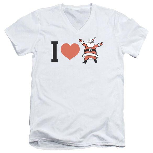 I Heart Santa Short Sleeve Adult V Neck T-Shirt