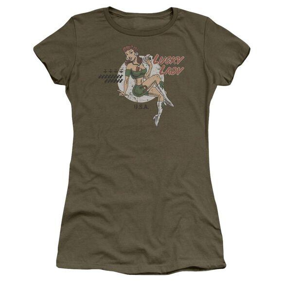 Lucky Lady Short Sleeve Junior Sheer Military T-Shirt