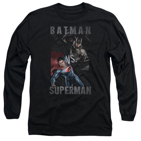 Batman Vs Superman Hero Split Long Sleeve Adult T-Shirt