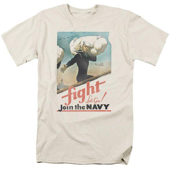 Navy Fight Let's Go Short Sleeve Adult Cream T-Shirt