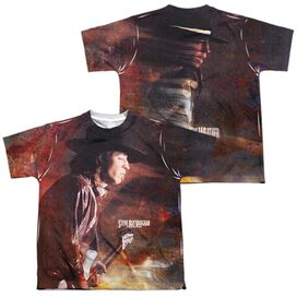 Stevie Ray Vaughan Weather (Front Back Print) Short Sleeve Youth Poly Crew T-Shirt